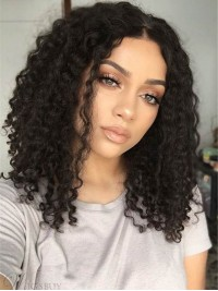 """Long 16"""" Curly Natural Black 360 Lace Remy Human Hair Wigs"""