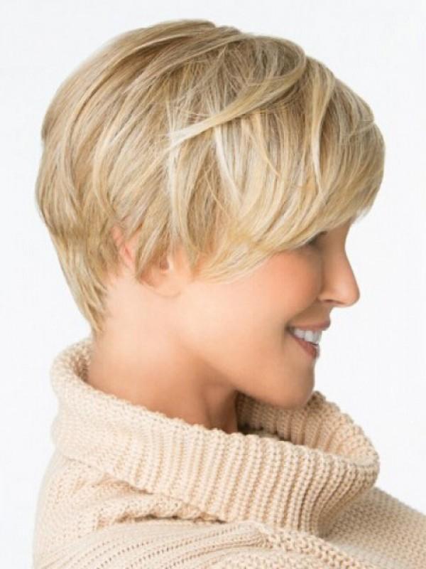 Blonde Boy Cut Capless Straight Short Remy Human Hair Wigs 6 Inches