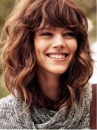 Medium Light Brown Wavy Capless Human Hair Wigs With Side Bangs