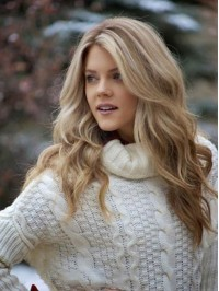 Blonde Long Wavy Lace Front Human Hair Wigs 20 Inches