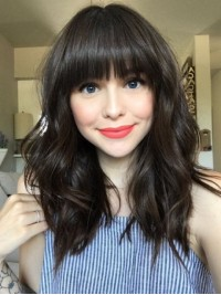 Long Wavy Lace Front Remy Human Hair Wigs 16 Inches With Bangs