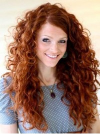 Long Capless Curly Human Hair Wigs 24 Inches With Side Bangs