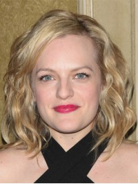 Elisabeth Moss Blonde Wavy Chin Length Capless Remy Human Hair Wigs 12 Inches