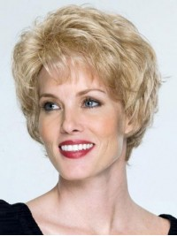 Blonde Short Wavy Capless Remy Human Hair Wigs With Bangs 8 Inches