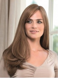 Long Wavy Capless Human Hair Wigs With Side Bangs 26 Inches