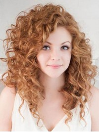 Bright Orange Long Curly Lace Front Human Hair Wigs 18 Inches