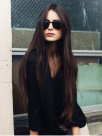 Central Parting Long Straight Lace Front Human Hair Wigs 28 Inches