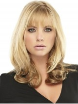 Blonde Capless Wavy Human Hair Wigs With Bangs 20 Inches