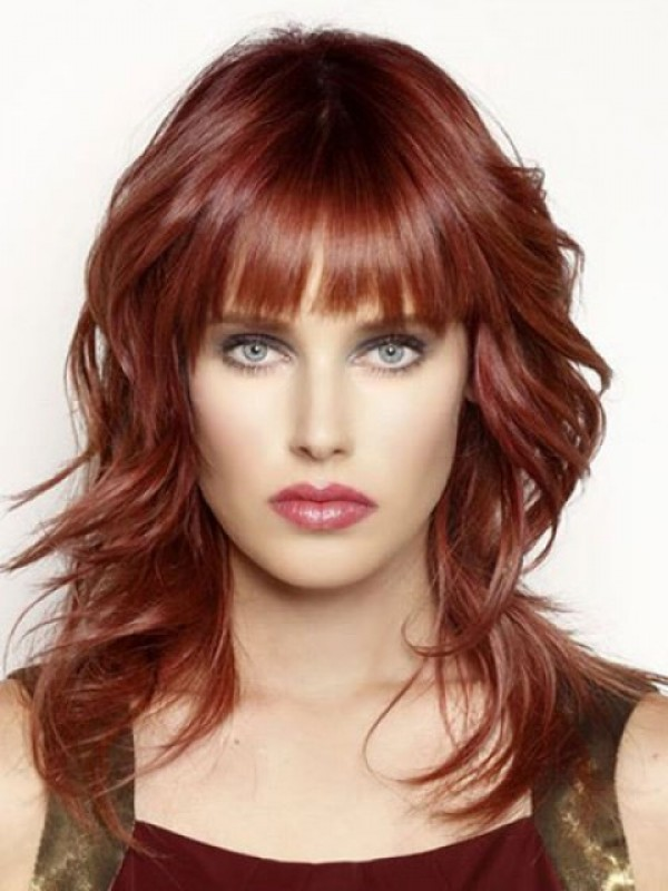 Red Long Wavy Remy Human Hair Capless Wigs With Bang 16 Inches