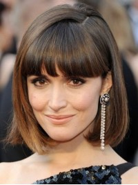 Bob Style Brown Medium Capless Remy Human Hair Wigs With Bangs