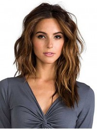 Central Parting Long Wavy Brown Lace Front Remy Human Hair Wigs 16 Inches