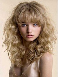 Blonde Wavy Long Human Hair Capless Wigs With Bangs 16 Inches