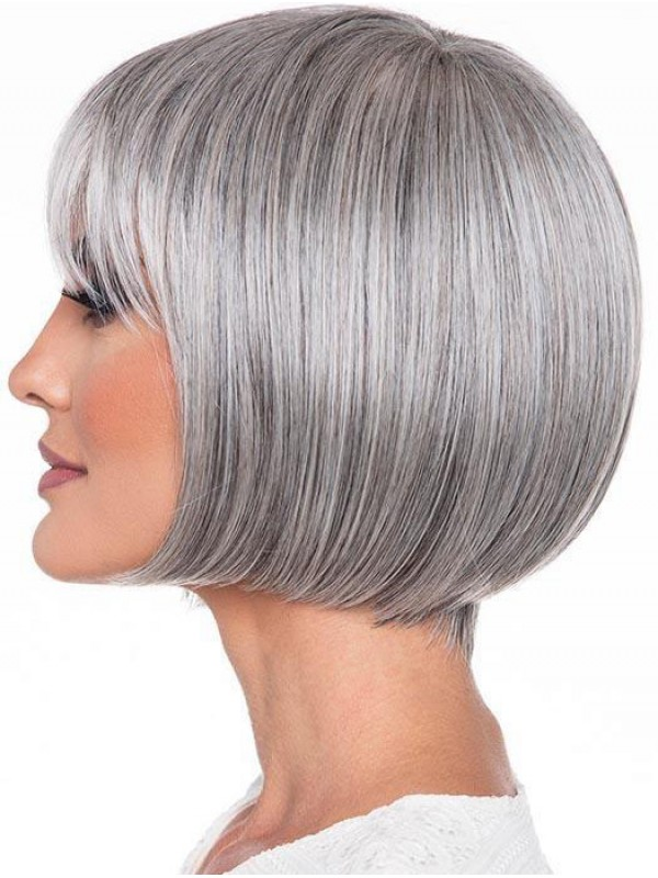 Grey Bob Style Straight Short Wigs