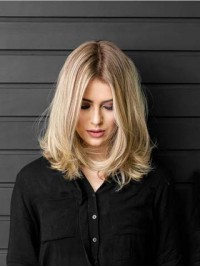 Central Parting Blonde Wavy Lace Front Remy Human Hair Wigs 14 Inches