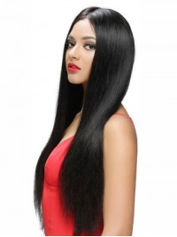 Elva Long Black Central Parting Lace Front Human Hair Wigs 26 Inches
