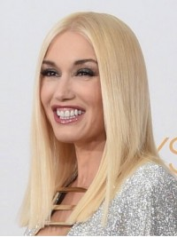 Gwen Stefani Blonde Central Parting Straight Lace Front Remy Human Wigs 16 Inches