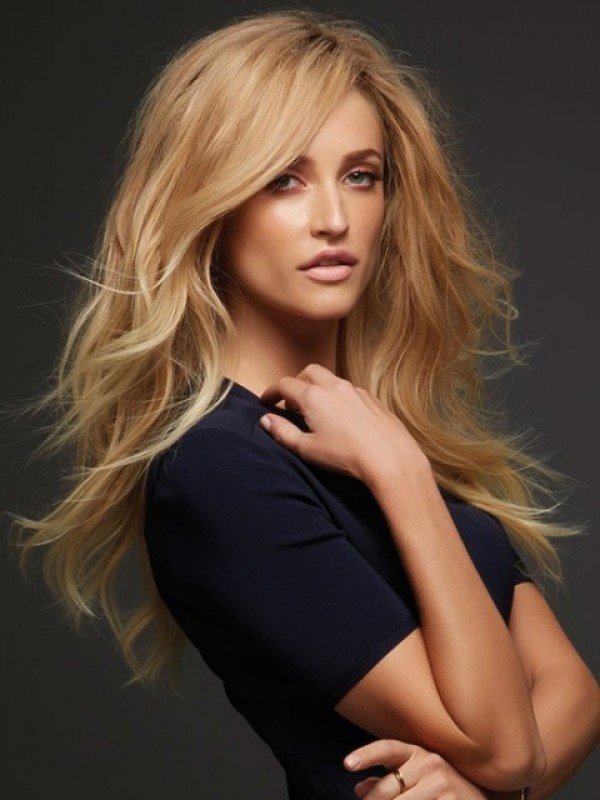 Blonde Long Wavy Lace Front Remy Human Hair Wigs With Side Bangs 20 Inches