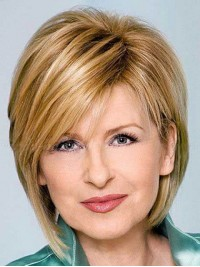 Blonde Short Straight Capless Human Hair Wigs With Bangs 10 Inches