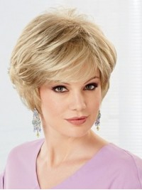 Short Blonde Wavy Capless Human Hair Wigs With Bangs 6 Inches
