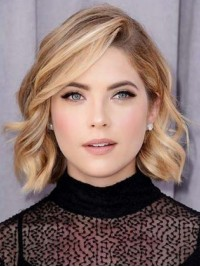 Blonde Wavy Bob Style Lace Front Human Hair Wigs With Side Bangs 12 Inches