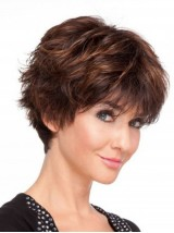 Brown Boy Cut Full Lace Remy Human Hair Wigs With Bangs 6 Inches