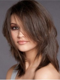 Medium Brown Straight Capless Human Hair Wigs With Side Bangs 14 Inches