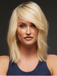 Blonde Long Straight Lace Front Remy Human Hair Wigs With Side Bangs 12 Inches