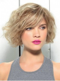 Bob Style Blonde Capless Human Hair Wavy Wigs With Side Bangs 10 Inches