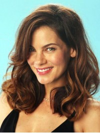 Two-Tones Long Wavy Capless Human Hair Wigs With Side Bangs 16 Inches