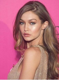 Gigi Hadid Long Wavy Lace Front Remy Human Hair Wigs With Side Bangs 24 Inches