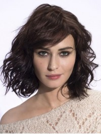 Wavy Bob Style Capless Remy Human Hair Wigs With Bangs 14 Inches