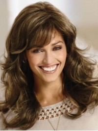 Flaxen Long Wavy Capless Human Hair Wigs With Bangs 18 Inches