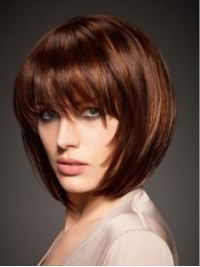 Claret Bob Style Straight Short Capless Remy Human Hair Wigs With Bangs 10 Inches