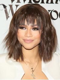 Medium Straight Capless Human Hair Wigs With Bangs 14 Inches