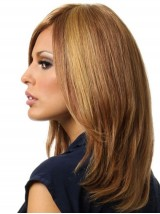 Brown Long Straight Full Lace Remy Human Hair Wigs 16 Inches