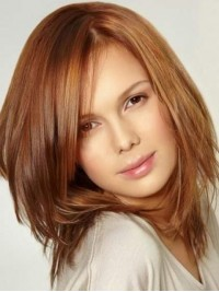 Medium Straight Lace Front Remy Human Hair Wigs With Side Bangs 14 Inches