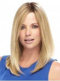 Blonde Long Straight Lace Front Remy Human Hair Wigs With Side Bangs 14 Inches