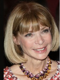Anna Wintour Blonde Straight Bob Style Human Capless Wigs With Bangs 10 Inches