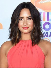 Demi Lovato Medium Central Parting Wavy Capless Remy Human Hair Wigs 12 Inches