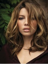 Two-Tones Medium Lace Front Wavy Human Hair Wigs 16 Inches