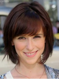 Claret Straight Short Capless Human Hair Wigs With Bangs 12 Inches