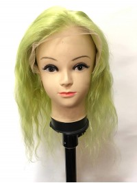 Medium Smooth Wavy Grass Green Lace Front Human Hair Wigs