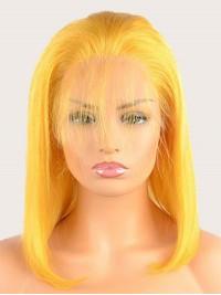 150% Density Yellow Bob Hair Wigs With Baby Hair