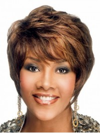 Brown Short Wavy Capless Human Hair Wigs With Bangs 8 Inches