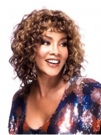 Medium Curly Capless Human Hair Wig With Bangs 14 Inches