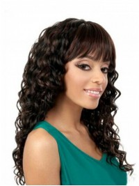 Afro-Hair Brown Long Curly Capless Synthetic Wigs With Bang 22 Inches