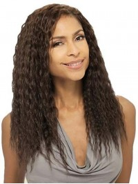 Afro-Hair Long Curly Capless Human Hair Wigs With Side Bangs 18 Inches