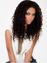 Afro-Hair Brazilian Central Parting Long Curly Lace Front Human Hair Wigs 20 Inches