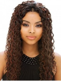 Afro-Hair Long Central Parting Curly Full Lace Human Hair Wigs 22 Inches
