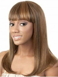 African American Long Straight Capless Human Hair With Bangs 18 Inches